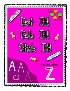 Alphadot Alphabet Dot It! Dab It! Stick It! Generic Worksheets ~ Focus Letter Z
