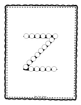 Alphadot Alphabet Dot It! Dab It! Stick It! Generic Worksheets ~ Focus Letter Z