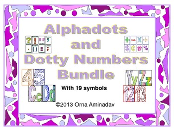 Alphadots and Dotty number and Symbols Set Bundle