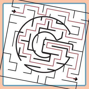 Alphamaze - Letter G Maze Set 3 Mazes Clip Art Set for Commercial Use