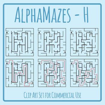 Alphamaze - Letter H Maze Set 3 Mazes Clip Art Set for Commercial Use