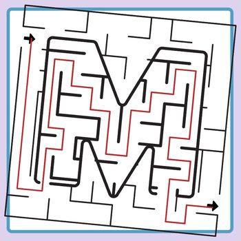 Alphamaze - Letter M Maze Set 3 Mazes Clip Art Set for Commercial Use