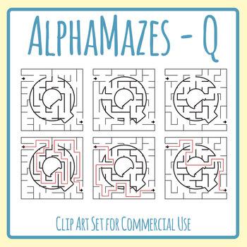 Alphamaze - Letter Q Maze Set 3 Mazes Clip Art Set for Commercial Use