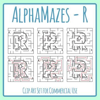 Alphamaze - Letter R Maze Set 3 Mazes Clip Art Set for Commercial Use