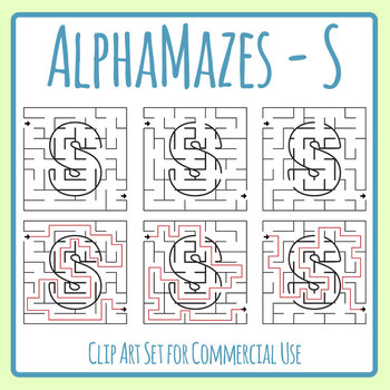 Alphamaze - Letter S Maze Set 3 Mazes Clip Art Set for Commercial Use