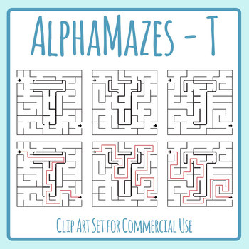 Alphamaze - Letter T Maze Set 3 Mazes Clip Art Set for Commercial Use