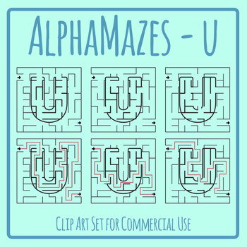 Alphamaze - Letter U Maze Set 3 Mazes Clip Art Set for Commercial Use
