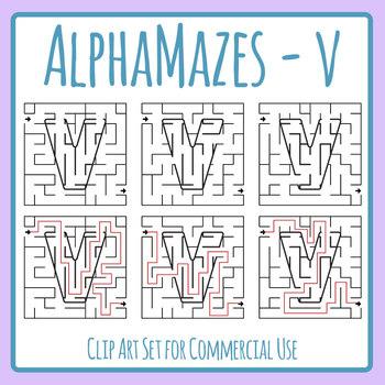 Alphamaze - Letter V Maze Set 3 Mazes Clip Art Set for Commercial Use