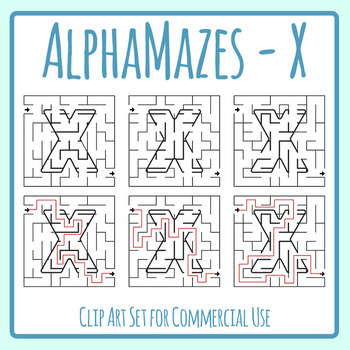 Alphamaze - Letter X Maze Set 3 Mazes Clip Art Set for Commercial Use