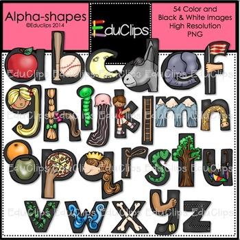 Alphashapes Clip Art Bundle {Educlips Clipart}