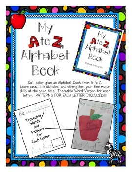 Alphabet Book A to Z Cut Paste and Create Book with Dotted Words and Patterns