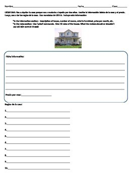 Alquilar la casa: Spanish House Vocab and Commands Writing Activity