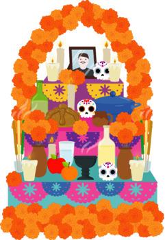 Altar de muertos, DAY OF the DEAD clipart, dia de muertos clipart, mexican party