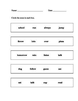 Alternate Assessment - Identify nouns