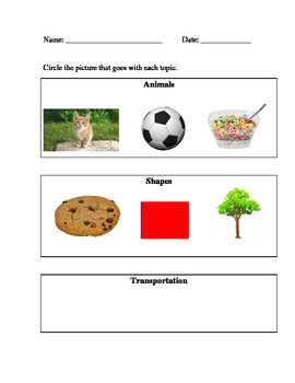 Alternate Assessment - select picture that goes with topic