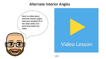 Alternate Interior Angles - Google Form with Video Lesson and Notes