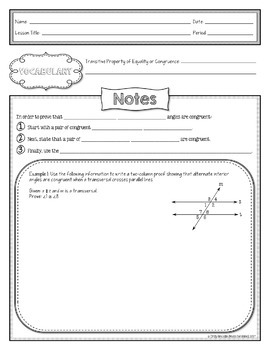 Alternate Interior & Corresponding Angles Proofs Lesson Materials (Notes CW HW)