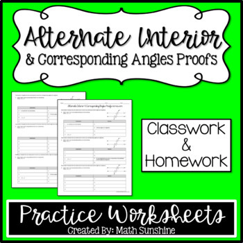 Alternate Interior and Corresponding Angles Proofs Practice Worksheets