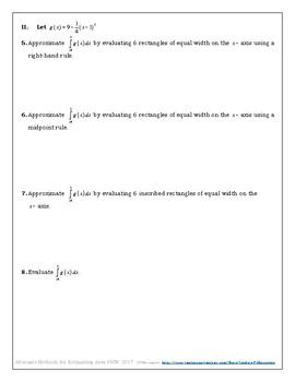 Alternate Methods for Estimating Area MEGA Spiral Homework and Solutions