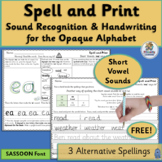 Alternative Spelling and Handwriting Practice Short Vowels FREE | SASSOON Font