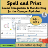 Alternative Spellings and Handwriting Practice for Soft c, Soft g | SASSOON Font