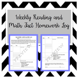 Alternating Reading and Math Fact Homework Log (Editable),