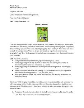 Alternative Assessment-The Wonderful Wizard of Oz (Hero's Journey)