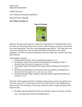 Alternative Assessment-The Wonderful Wizard of Oz (Hero's