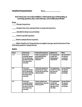 Alternative Assessment for converting equations to find parallel equations
