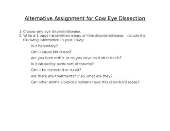 Alternative Assignment for Cow Eye Dissection