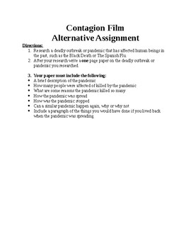 """Alternative Assignment for the Film """"Contagion"""""""