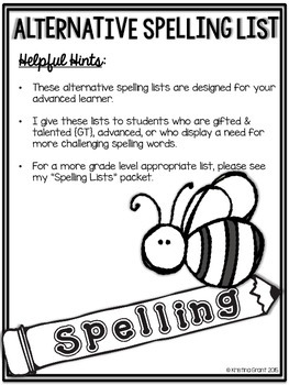 Alternative {Challenging} Spelling Lists