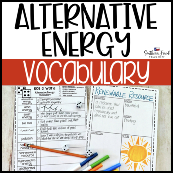 Alternative Energy Fun Interactive Vocabulary Dice Activity EDITABLE