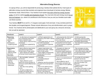 Alternative Energy Handout Assignment