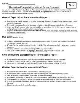 Alternative Energy Informational Paper
