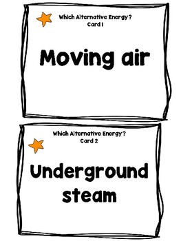 Alternative Energy: Task Cards, Riddle Sheet, Word Wall (Review)