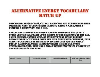 Alternative Energy Match Up