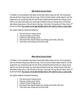 Alternative Energy Poster and Grading Sheet