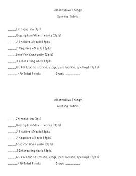 Alternative Energy Scoring Rubric