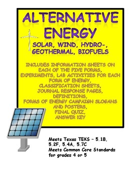 Alternative Energy: Solar, Wind, Hydro-, Geothermal, Biofuel Unit