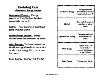 Alternative Energy Sources Vocab Pack