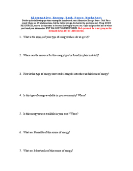 Alternative Energy Task Force Project Questions