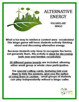 Alternative Energy Vocabulary Bingo