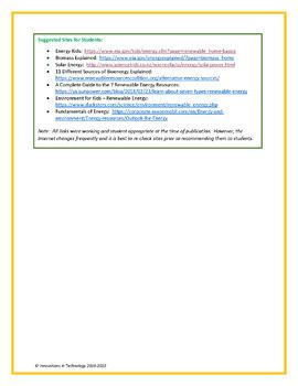 Alternative Energy WebQuest - Internet Scavenger Hunt