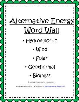 Alternative Energy Word Wall