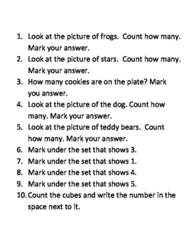 S.A.T. Style Go Math Tests for Kindergarten