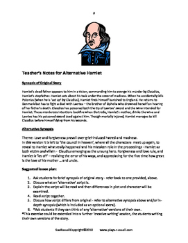 Alternative Hamlet guided reading or readers theater script plus lesson plan