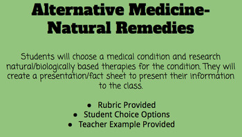 Alternative Medicine- Natural/Biologically Based Therapies