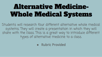 Alternative Medicine- Whole Medical Systems Presentation