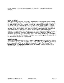 Alternative School Information Packet
